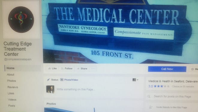 Facebook page for the Cutting Edge Treatment Center in 2017.