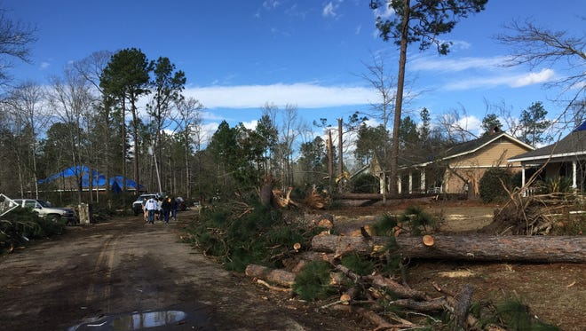 The tornado that struck Hattiesburg early Saturday caused severe damage to homes along Lakeland Drive off Richburg Road.