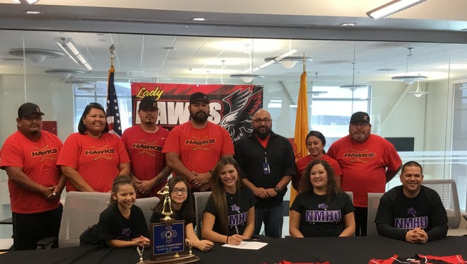 Centennial High School softball standout Steevi Heredia signed her National Letter of Intent to continue her career at New Mexico Highlands University.