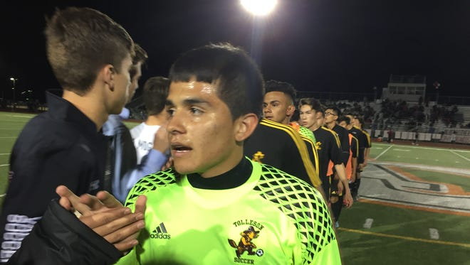 Tolleson senior goalkeeper Alan Cazares stopped two shots in penalty kicks to help his team beat Brophy Prep in the 6A boys soccer semifinals on Tuesday.