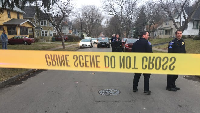Rochester police on scene of an apparent drive-by shooting on Steko Avenue on Feb. 24, 2017.