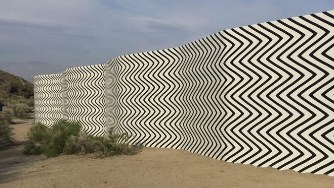 """""""Curves and Zigzags"""" by Claudia Comte is featured in Desert X in the Cap Homme and Ralph Adams Park in Palm Desert. The Desert X sites are free to visit through April 30 and with directions available online."""