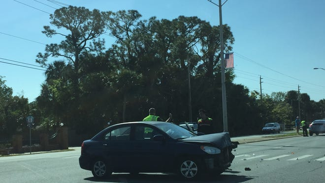 Lanes were blocked on U.S. 1 for a traffic accident in Titusville Wednesday.