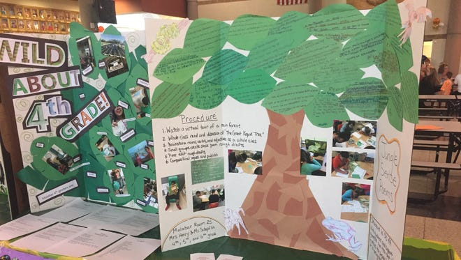 The jungle theme dominated many displays, like this one from Malabar Intermediate School