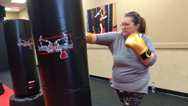 Jeannie Neldner, 51, started kickboxing a few months ago for the first time.