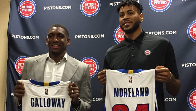 Pistons introduce Langston Galloway,  left, and Eric Moreland at a news conference in Auburn Hills.