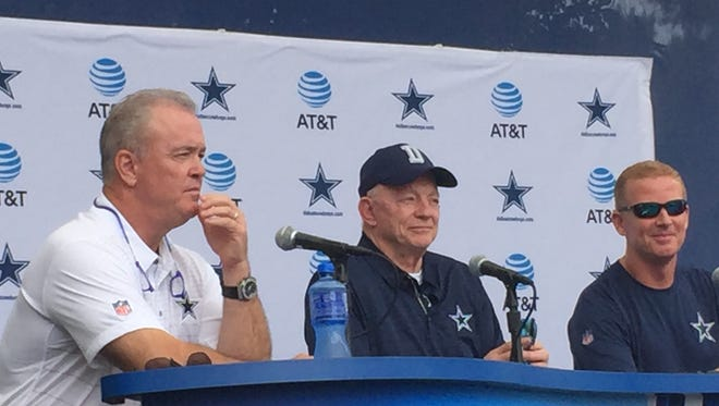 Dallas Cowboys owner Jerry Jones, head coach Jason Garrett and executive vice president Stephen Jones talk about the team at Sunday's State of the Cowboys news conference in Oxnard. The team will hold its first practice of training camp Monday afternoon.