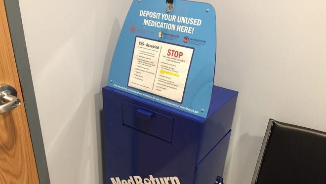 The medicine collection box in the South Londonderry Township police department waiting room. The box was formerly located in the Palmyra Borough police department, but their police chief, Stanley Jasinski, had it removed citing safety concerns for his officers.