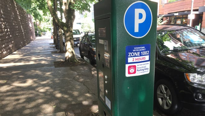 Portland, Oregon parking meter invites drivers to use the Parking Kitty app.