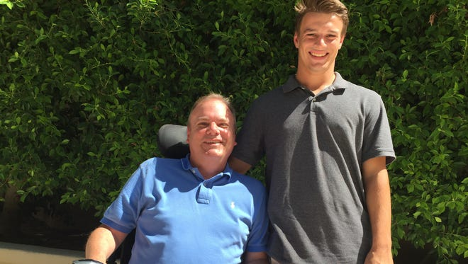 Michael DiMaria and his son Erik, a senior football player at Brophy Prep, inspire each other. Michael was diagnosed with muscular dystrophy when he was 13.