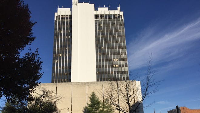 The former Old National Bank tower on Main Street will be imploded in November, officials said. A new development on the block is planned.