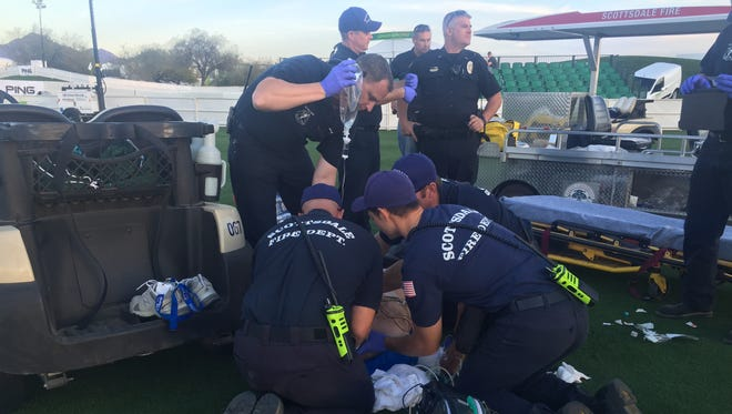 The Scottsdale Fire Department responded to the driving range at the Waste Management Phoenix Open on Jan. 30, 2018.
