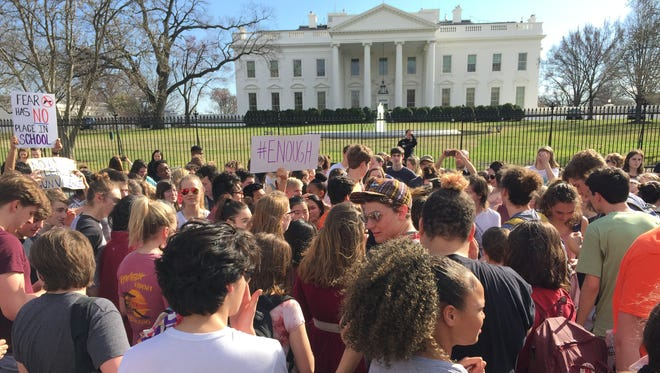 Anti-gun protesters rally outside the White House Wednesday.