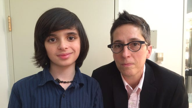 "Oscar Williams of Charlotte and Alison Bechdel of Bolton attend the event ""Fun Home on Broadway with Alison Bechdel"" March 15 at the Guggenheim Museum in New York."