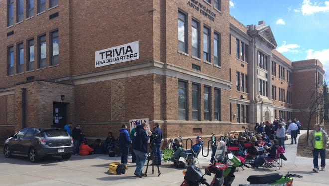People line up outside the WWSP 90FM studios on the University of Wisconsin-Stevens Point campus on Monday to register for Trivia 46, the 54-hour contest that kicks off on Friday.
