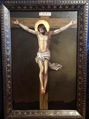"""The painting, """"Paradise Awaits You,"""" was presented to  Santa Ana Catholic Church in honor of the church's centennial."""