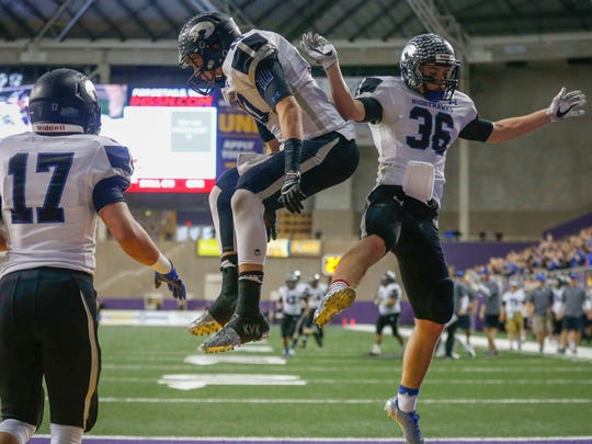 Bowden Hull/Rock Valley's Shane Solberg, right, was selected to the Des Moines Register's 2016 All-Iowa Elite football team.