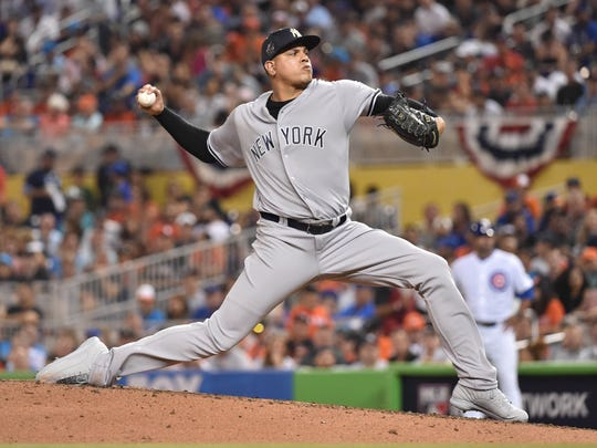 American League pitcher Dellin Betances (68) of the New York Yankees throws a pitch in the third inning during the 2017 MLB All-Star Game at Marlins Park.