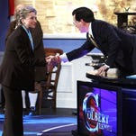 """FILE - In this Thursday, April 17, 2008, file photo, Democratic presidential hopeful Sen. Hillary Rodham Clinton, D-N.Y., greets Stephen Colbert as she makes an appearance at a taping of Comedy Central's """"The Colbert Report,"""" in Philadelphia. Clinton will pay a visit to The Late Show with Stephen Colbert on Tuesday, Oct. 26, 2015. Clinton follows past Late Show guests from the campaign trail including Jeb Bush, Bernie Sanders and Donald Trump. The Late Show airs on CBS at 11:35 p.m. EDT."""