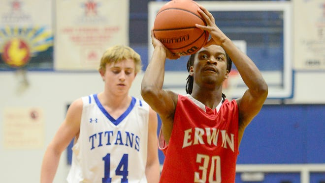 C.J. Thompson leads the Erwin boys basketball team with 21.9 points per game.