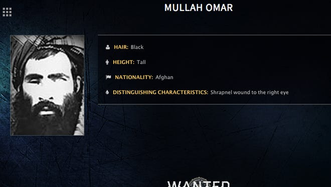 FILE - In this undated image released by the FBI, Mullah Omar is seen in a wanted poster. An Afghan official says his government is examining claims that reclusive Taliban leader Mullah Omar is dead. The Taliban could not be immediately reached for comment on the government's comments about Omar, who has been declared dead many times before. (FBI via AP, File)