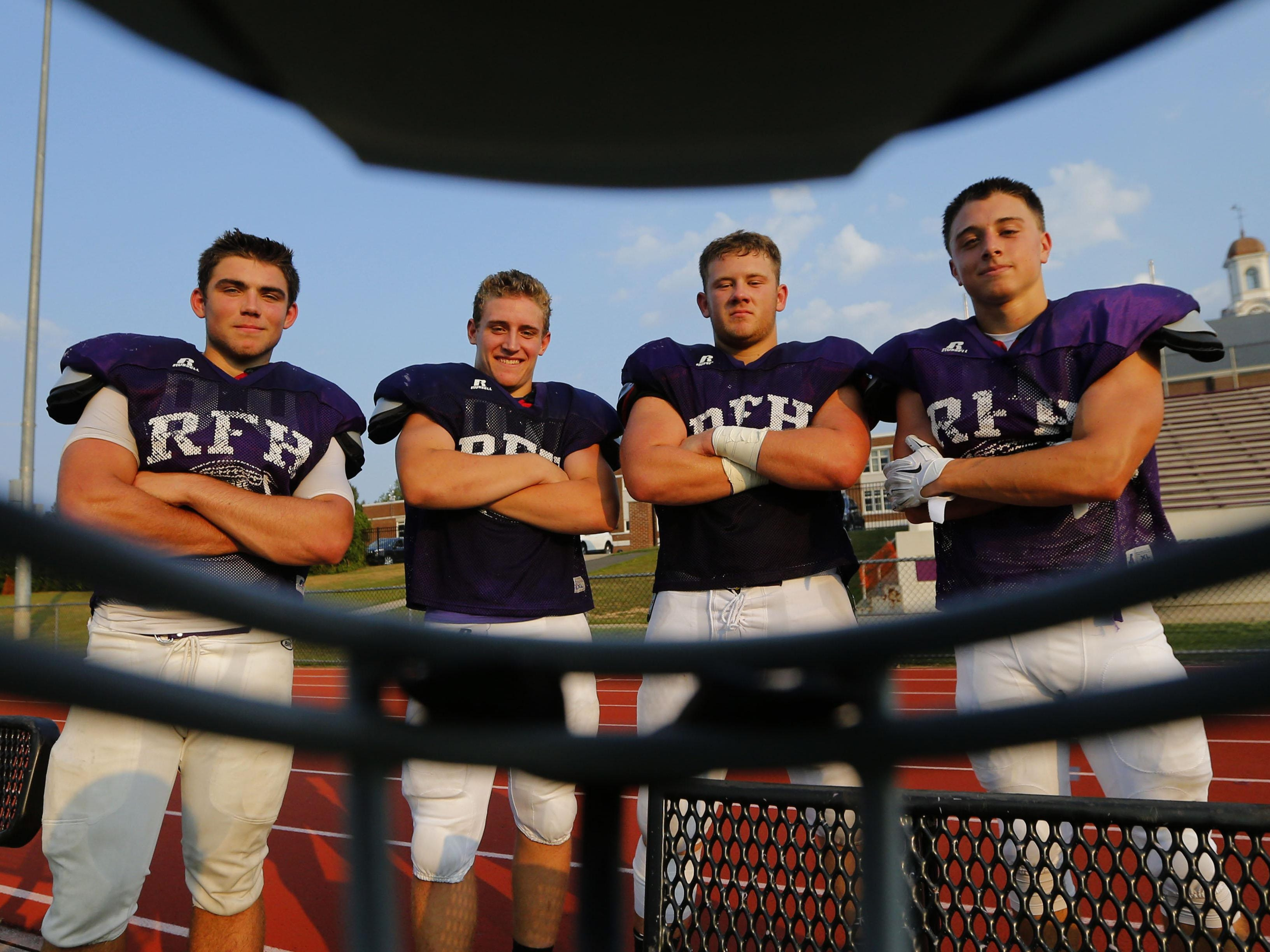 Rumson Fair-Haven's Mike Caruso, Mike Murdock, Mike Runane and Max Pfrang are shown through a facemask this summer.