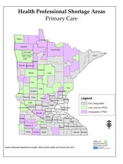 A map shows areas in Minnesota where there is a shortage