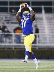 Delaware defensive back Anthony Jackson snares an interception
