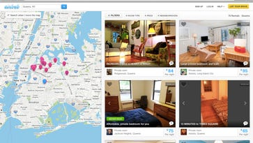 This screen shot provided by Airbnb from their website shows a typical search for listings of rooms to rent, in this case in the Queens borough of New York.