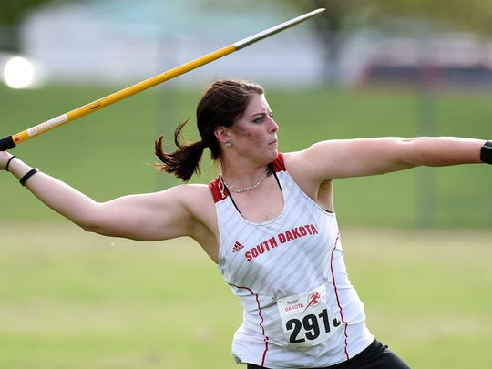 USD's Alli Lake competes in the college women's javelin field event during Howard Wood Dakota Relays on Friday, May 6, 2016.