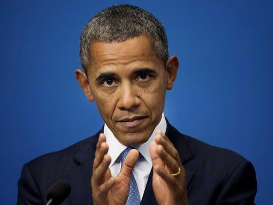 US President Barack Obama reacts during a press conference at Rosenbad in Stockholm, Sweden.