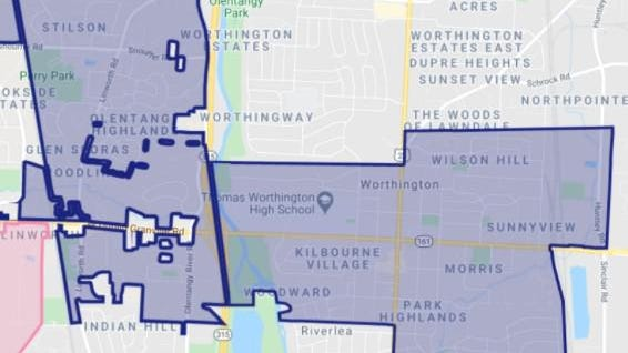Map of areas to be sprayed for mosquitoes early Friday morning, Aug. 28, 2020.  [City of Worthington