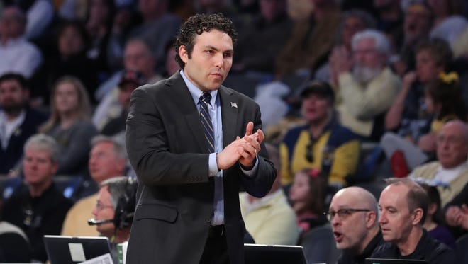Georgia Tech Yellow Jackets head coach Josh Pastner reacts to a play during the second half against the Wake Forest Demon Deacons at McCamish Pavilion.
