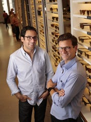 Neil Blumenthal, left, and Dave Gilboa, pictured July 23, 2013, in New York, are the visionaries of Warby Parker, an eyewear company where most glasses cost about $100 with the prescription. (Carolyn Cole/Los Angeles Times/MCT)