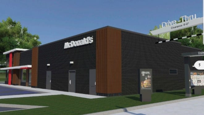 A rendering of the drive-through area of the to-be-built McDonald's at 1725 E. Main St. in Richmond.