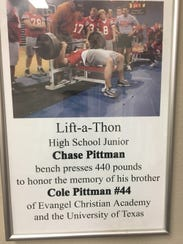 Chase Pittman held the Evangel lift record for 16 years