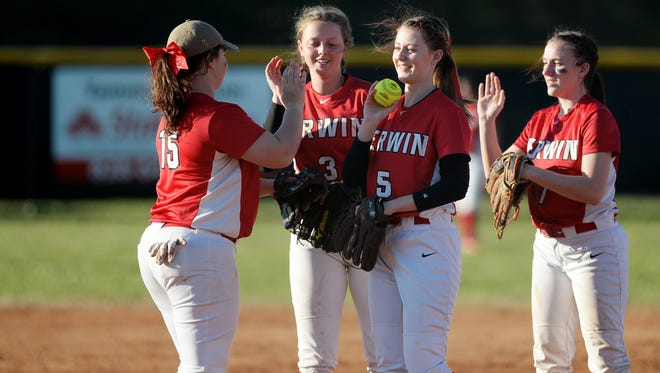 Hali Hawkins (5) is the primary pitcher for the Erwin softball team.