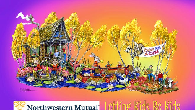 This season's Rose Parade float by Northwestern Mutual depicts a summer camp theme.