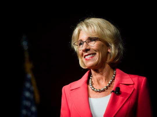 Secretary of Education Betsy DeVos speaks to a packed