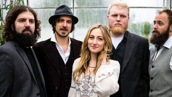 Vaudeville Etiquette, left to right: Matt Teske (pedal steel), Bradley Laina (vocals/guitar), Tayler Lynn (vocals), Bryce Gourley (drums), Sander Vinberg (bass).