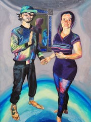 """Meredith Rose's """"Jupiter"""" show at San Juan College includes the painting """"Humans."""""""