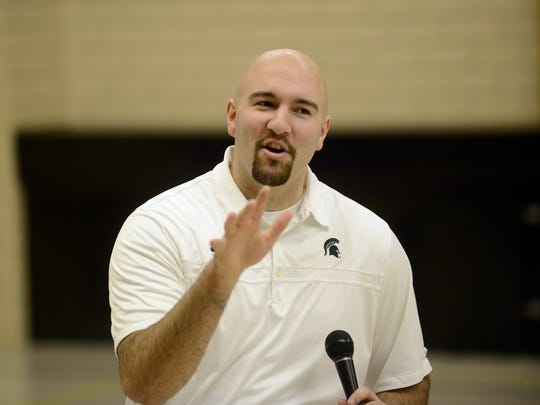 Former MSU basketball player Anthony Ianni speaks to students at Concord Middle School on Feb. 4. Ianni, who has autism, speaks about overcoming the odds and bullying at his talks with schools.