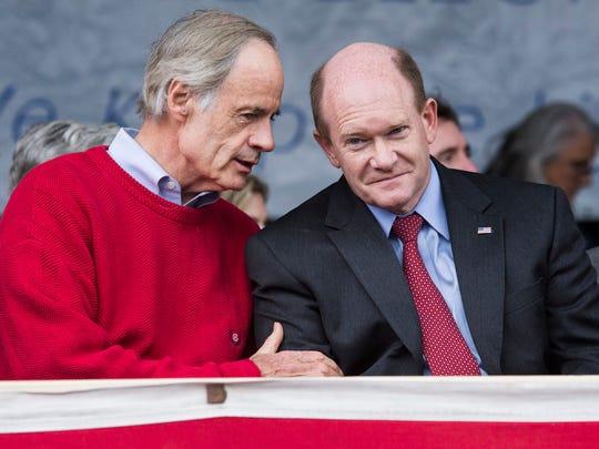 Sen. Tom Carper (left) and Sen. Chris Coons