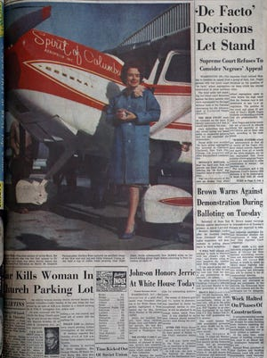 Bound volume of The Dispatch from May 4, 1964 featuring a large color photo of Jerrie Mock on it.