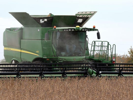 Jay Schutte harvests soybeans in 2019 near Benton City in Audrain County.