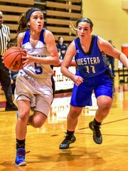 Lakeland's Lauren Castellon (left) drives past Walled Lake Western defender Christina Tamer.