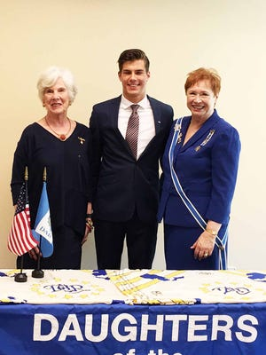 DAR State Scholarship Chairperson Barbara Balow of Bloomfield Township, scholarship winner Chase Glasser and DAR State Regent Diane Schrift.