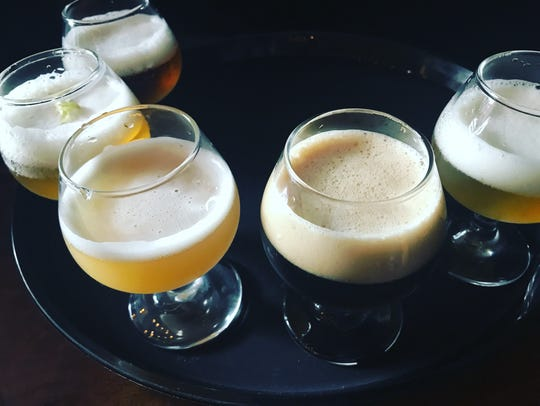 A flight at D.C. Oakes Brewhouse & Eatery, which debuted