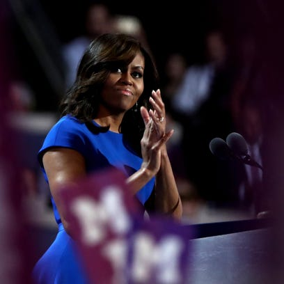 Jessica Kourkounis/Getty ImagesFirst lady Michelle Obama acknowledges the crowd during her speech Monday at the Democratic National Convention. PHILADELPHIA, PA - JULY 25: First lady Michelle Obama acknowledges the crowd during her speech on the first day of the Democratic National Convention at the Wells Fargo Center, July 25, 2016 in Philadelphia, Pennsylvania. An estimated 50,000 people are expected in Philadelphia, including hundreds of protesters and members of the media. The four-day Democratic National Convention kicked off July 25. (Photo by Jessica Kourkounis/Getty Images)