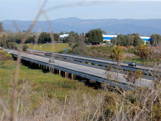 The Struve Slough Bridge along Highway 1 on Thursday in Watsonville.